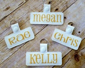 Personalized name tag, 3 or 4 inch name tag, vinly tag, bag tag, backpack tag, briefcase tag