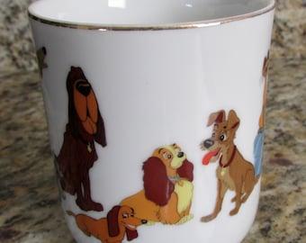 Lady & The Tramp Porcelain Mug Vintage Walt Disney Productions