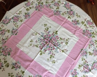 1940's Pink Floral Tablecloth