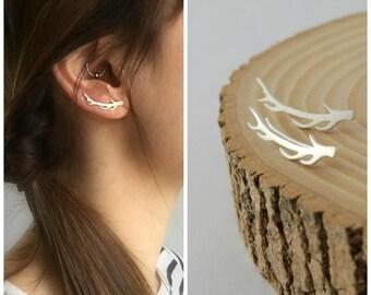 antlers ear crawlers sterling silver woodland earrings