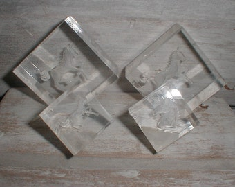 Four Russ Berrie Etched Unicorns  Acrylic Cubes  Desk/Shelf Art