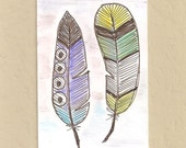 ACEO, Feathers, March Madness,  ATC, Art Trading Card, Original Drawing, Ink,  Kid Friendly, March Madness