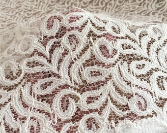 White Lace Fabric, Embroidered Fabric, Hollowed Lace For Bridal Dress Curtain- One yard Lace W202