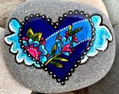 love is beautiful / winged hearts / painted rocks / painted stones  / rock art  / heart rocks / paperweights / hand painted rocks / stones