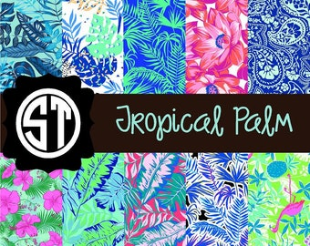 Tropical Palm Patterns Vinyl (Indoor, Outdoor,  Glitter Vinyl, HTV iron on, Glitter Heat Transfer) Lamination available Mask not included