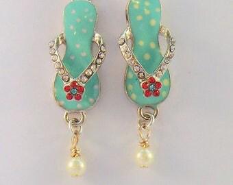 Aqua green beach sandal charm earrings, rhinstone and pearl flip flop earrings, ocean shoreline jewelry, rhinestone and pearl enamel earring