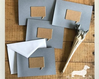 CLEARANCE! Square Speech Bubble. Note Cards (Set of 4) -- (Hello, Gray, Simple, Vintage-Style, Thought Bubble, Simple, Rustic, Mod, Modern)