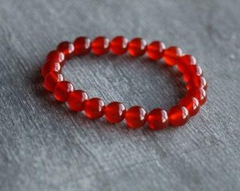 Carnelian 8 mm Round Stretchy String Bracelet B65b