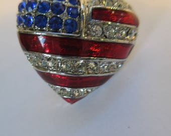 """Vintage lapel or hat pin silver tone rhinestone heart """"American Flag """"  not signed"""