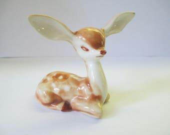 Vintage ceramic deer fawn miniature figurine used