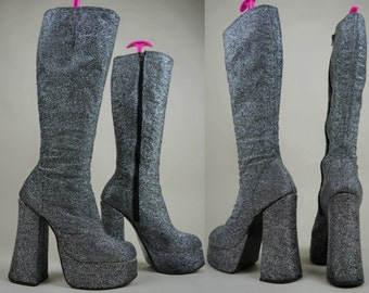 70s Silver Lurex Chunky Heel Knee High Platform Boots UK 3 / US 5.5 / EU 36