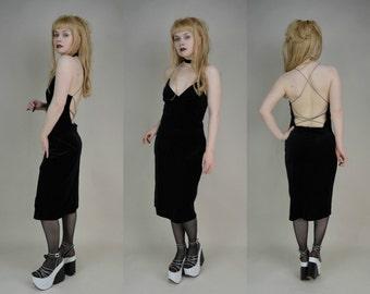 90s Grunge Goth Black Velvet Halter Neck Strappy Backless Midi Dress M