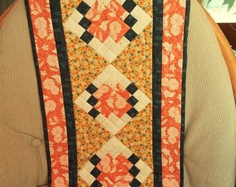 QUILTED TABLE RUNNER Wall Hanging rectangle Basic Grey Persimmon fabric colors Pumpkin Butternut Blueberry Mulled Cider Gold flower prints