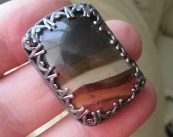 Silver Jasper ring -  Handmade Large Stone ring - Horizontally Set