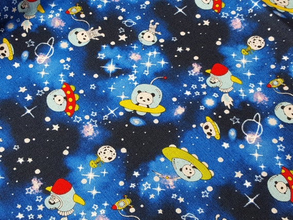 Cartoon fabric cute panda in space fabric in starry blue for Space boy fabric