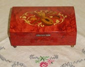 SORRENTO Made In ITALY Wood Wooden Inlaid Musical Instrument & Sheet Music MUSICAL Keepsake Box
