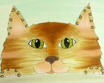 Cat art, Original Pen and Ink drawing, orange cat