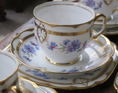 Royal Albert 'Cornflower'  vintage china tea cup trio