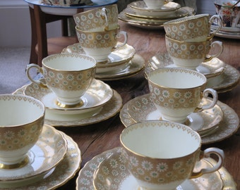 Tuscan vintage china tea cup trio