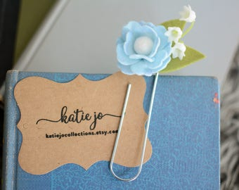 Felt Flower Bookmark/Inked Felt Flower Planner Clip/Planner Accessory/Book Accessory