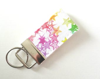 Mini Star Key Fob  - Fabric Wristilet - Cotton amd Steele Fabric