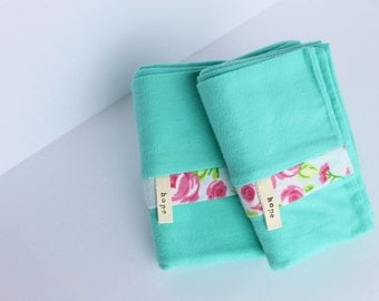 Retro Turquoise Green Flannel Pillowcases Floral Roses Mint 70s Throwback Bedding Pillow Cotton Adoption Fundraiser