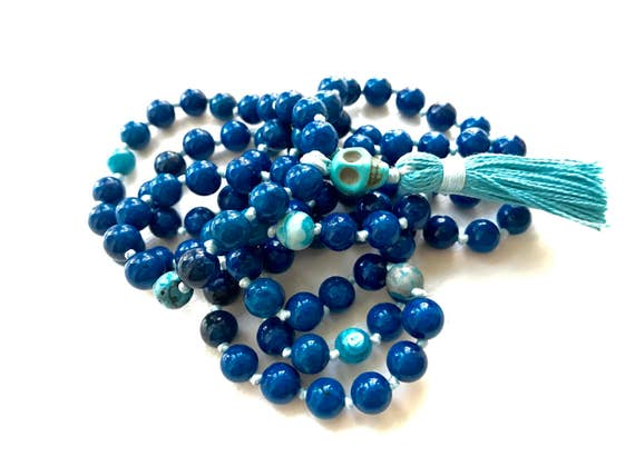 SALE! 30% OFF - Riverstone with Crazy Lace Agate Knotted Mala Beads - Yoga Prayer Beads - Mantra Meditation Stones