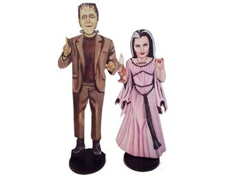 Fred and Lily Munster Hand Painted 2D Art Figurines