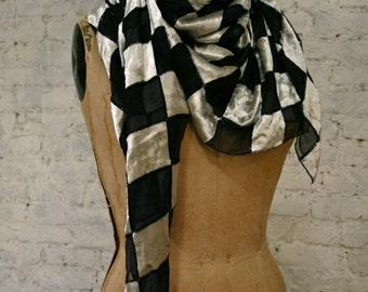 Vintage 1980's Paco Rabanne Silk Velvet Scarf Geometric Wrap Shawl