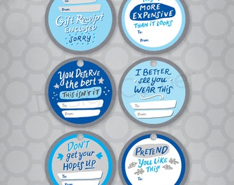 Funny Hand Lettered REAL tags BLUE Gift Tags - Set of 6