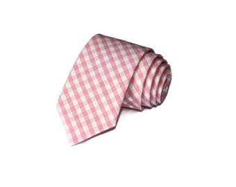 Pink Gingham Necktie~Anniversary Gift~Wedding Tie~Mens Gift~Boys Necktie~Mens Necktie~Wedding~HoBo Ties~Mens Tie~
