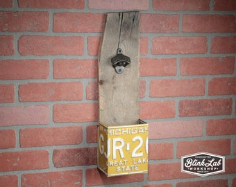Rustic Bottle-Opener with License Plate Catch Box, Repurpused, Upcycled, Reclaimed-Wood, Man-Cave,  Barware, Gas & Oil, Garage, Drinking