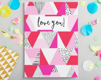 Love You Greeting Card - Valentines Card - Valentine's Dat Ca Greetings Card - Card For Boyfriend - Card For Girlfriend - Anniversary Card