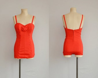 Vintage 50s Bathing Suit / 1950s Maurice Handler Red Stretch Swim Suit with Ruching / Red Rose
