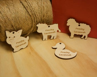 Farm Animals, Favors, Shower, Gift, Tag, Gift Tag, Party Favor, Shower Favor, Pig, Duck, Sheep, Cow, Animals, Farm, Wood Tags