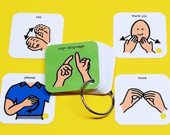Sign Language Basics Keyring Activity - Autism PECS - Visual Aid for Communication with Children Autism