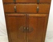 Antique Art Deco Tiger Oak Highboy Chest of Drawers Dresser Linen Press Tall Boy Carved Scrolls Bronze Waterfall Style Pulls