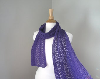 Purple Cashmere Scarf, Super Light, Hand Knit Knitted, Long Scarf, Lace Lacy Wrap Scarf, Ladies Womens Scarf
