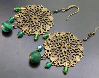 Malachite Mandala Earrings Filigree Gypsy Boho Chic Bohemian Hippie Earthy Antique Bronze Vintage Czech Glass Jewelry Stone Earth Nature