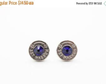 30% OFF SALE Bullet Earrings . 357 Magnum Nickel Plated Brass . September Sapphire