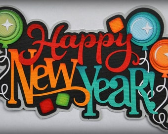CraftECafe Happy New Year for Premade Scrapbook Page Layout Die Cut Embellishment