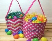 SALE Personalized Easter Basket, Toy Basket, Fabric Reusable Easter Basket, Cute Basket for Girl, Monogrammed Easter Basket