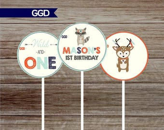 Woodland 1st Birthday Party cupcake toppers, printable cupcake toppers, woodland animal party circles, DIY cupcake toppers