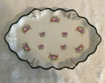 Antique Serving Platter,Wallendar Austria,Floral