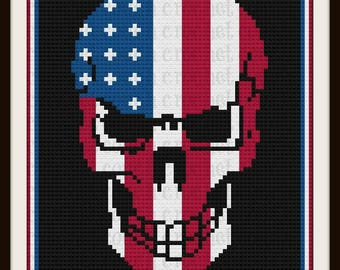 Skull Stars and Stripes Afghan, C2C Graph, with Row by Row Word Chart