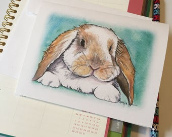 Long Eared Bunny Rabbit Note Cards // Easter Lop Eared Rabbit Stationery // Blank Greeting Cards // Easter Note Card Set