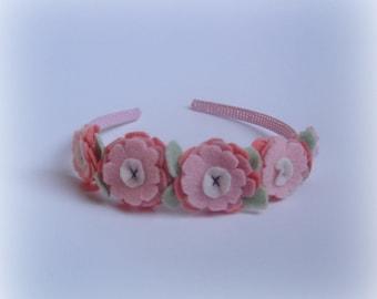 Headbands girls light pink easter baby flower Handmade hair band vintage pink headbands rose hairbands flowers felted accessory valentine