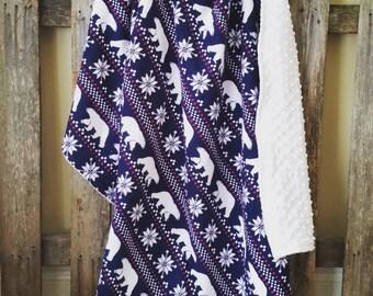 Polar Bear Flannel Baby Blanket || Navy Polar Bear Snowflake Blanket || Polar Bear Minky Baby Blanket