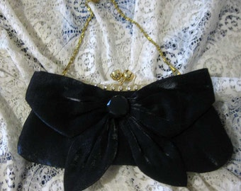 Vintage Satin Bow Clutch Purse-Evening Bag W/ Interchangeable Chain