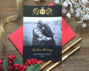 5 x 7 Custom Digital or Print Christmas Blessings Christmas Card/ Photo Christmas Greeting Card/ Monogram/ Initial Greeting/ FREE SHIPPING